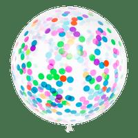 Ballon Confettis Transparent et Multicolore 1 m
