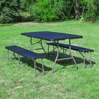Lot 1 Table Pliante et 2 bancs 180 cm Noir