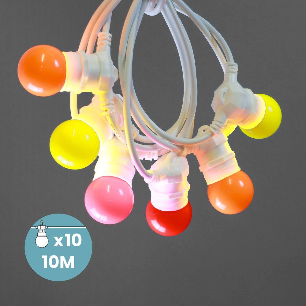 Guirlande Lumineuse Guinguette Couleurs Chaudes 10 m Cable Blanc