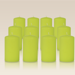 Pack de 12 bougies cylindres Vert citron 6x10cm