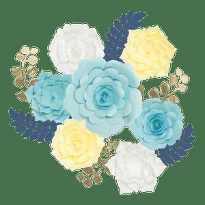 Kit Fleurs En Papier Azure x7 + Rameaux