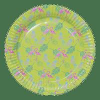 Assiettes Carton Tropical Vert Anis x12