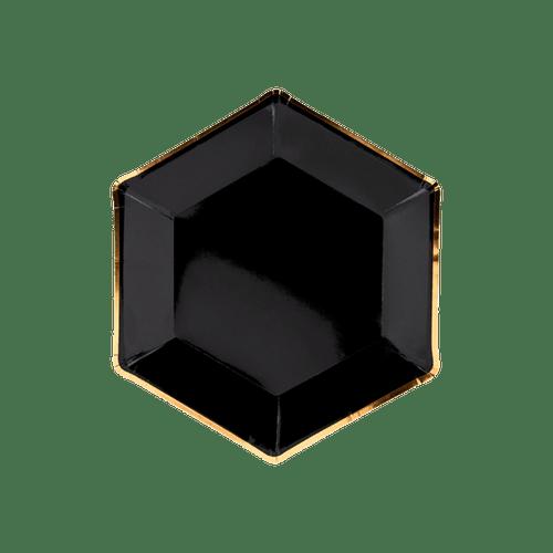 Assiette Hexagonale Carton Noir et Or x6
