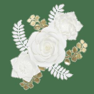 Kit Fleurs En Papier Pure White x3 + Rameaux