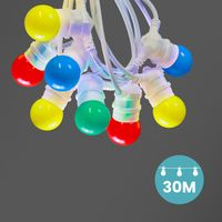 Kit Guirlande Guinguette 30m IP 65 Multicolore Cable Blanc