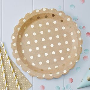Assiettes Kraft Pois Or x8