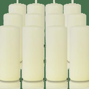 Pack de 12 bougies cylindres Ivoire 6x15cm
