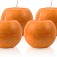 Pack de 4 Bougies Rondes Marbrées Orange 8cm
