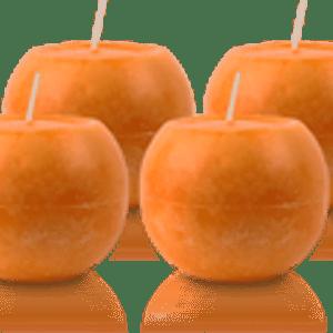 Pack de 4 Bougies Rondes Marbrées Orange 8cm