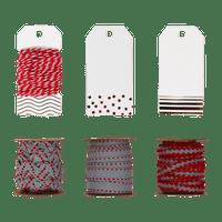 Set Etiquettes et Ficelle Rouge et Gris