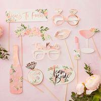 Kit Photobooth Team Bride Rose gold et Blanc x10