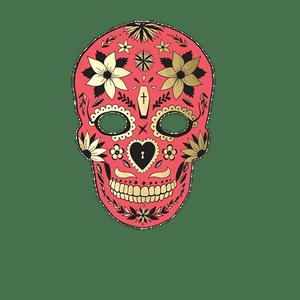 Masque Photo Booth Carton Dia de Los Muertos Rouge