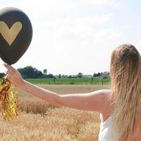 Ballon Mariage Cœur doré Noir
