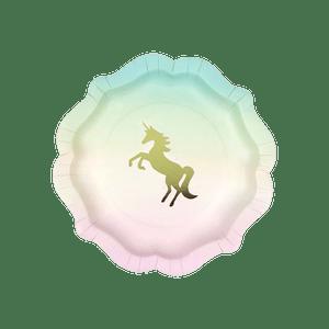 Assiette carton licorne arc en ciel pastel x12