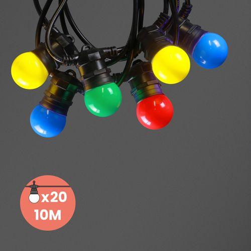 Guirlande Guinguette IP65 10M 20 Bulbes Multicolores