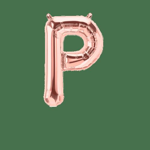 Ballon Lettre P Rose Champagne 35cm