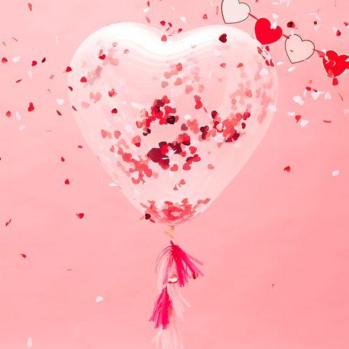 Ballon Confettis geant Cœur Transparent 90 cm