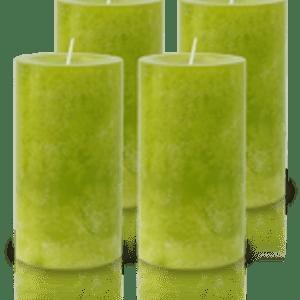 Pack de 4 Bougies Marbrées Vert Citron 13x7cm