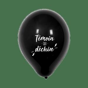 """Ballon Mariage """"Témoin qui déchire"""" Noir"""