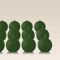 Pack de 12 bougies ronde Vert 7cm