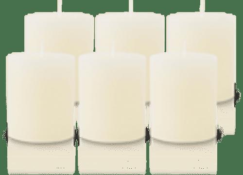 Pack de 6 Bougies Rustiques Ivoire 8x7cm