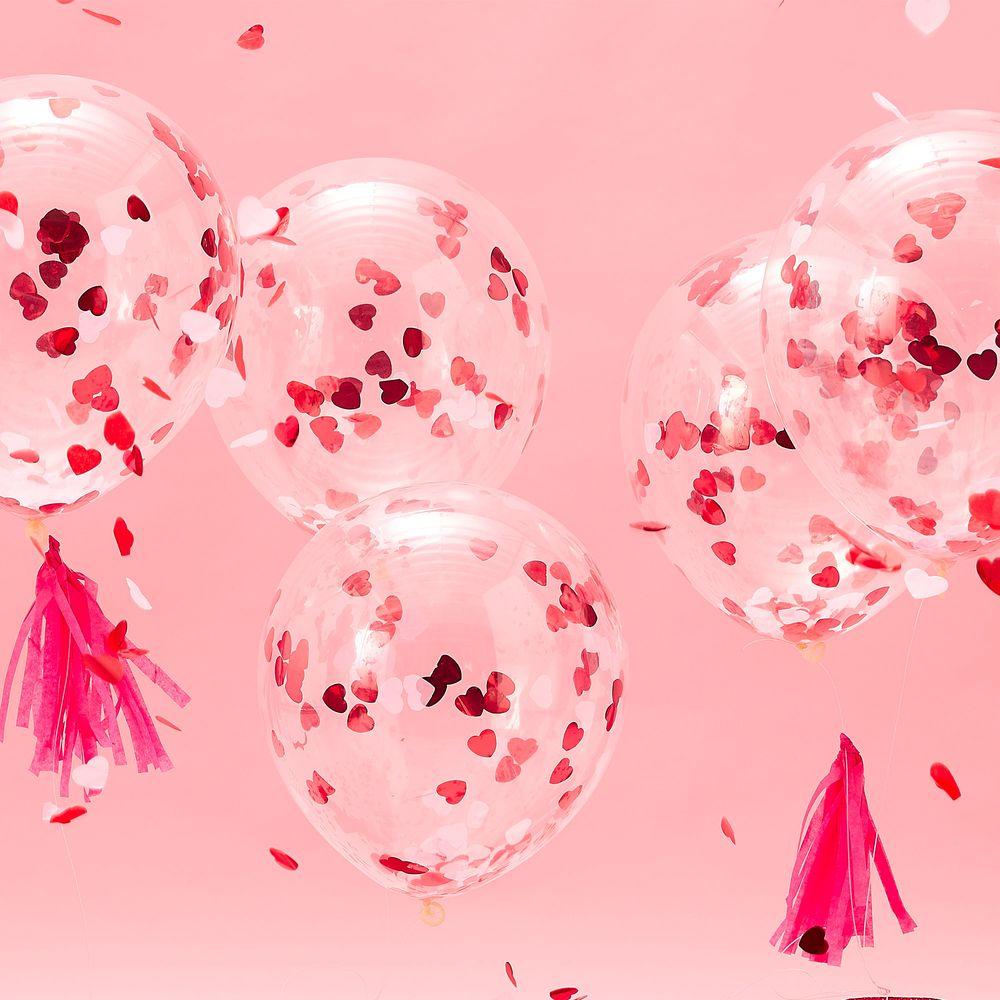 Ballons Transparents avec Confettis Coeur x5