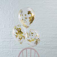 Ballon Confettis Or x5