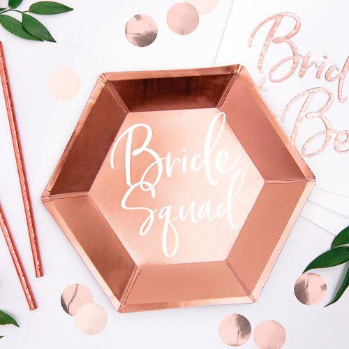 Assiette Hexagonale Bride Squad Rose gold x6