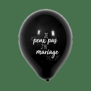 """Ballon Mariage """"Je peux pas j'ai mariage"""" Noir"""