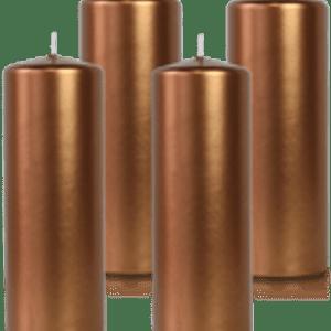 Pack de 4 bougies cylindres Bronze 7x21cm