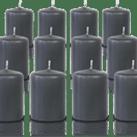 Pack de 12 bougies votives Gris Anthracite 5x7cm