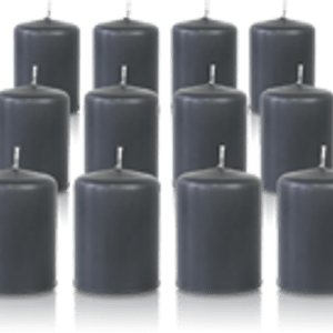 Pack de 12 bougies votives Gris Anthracite 5x7cm
