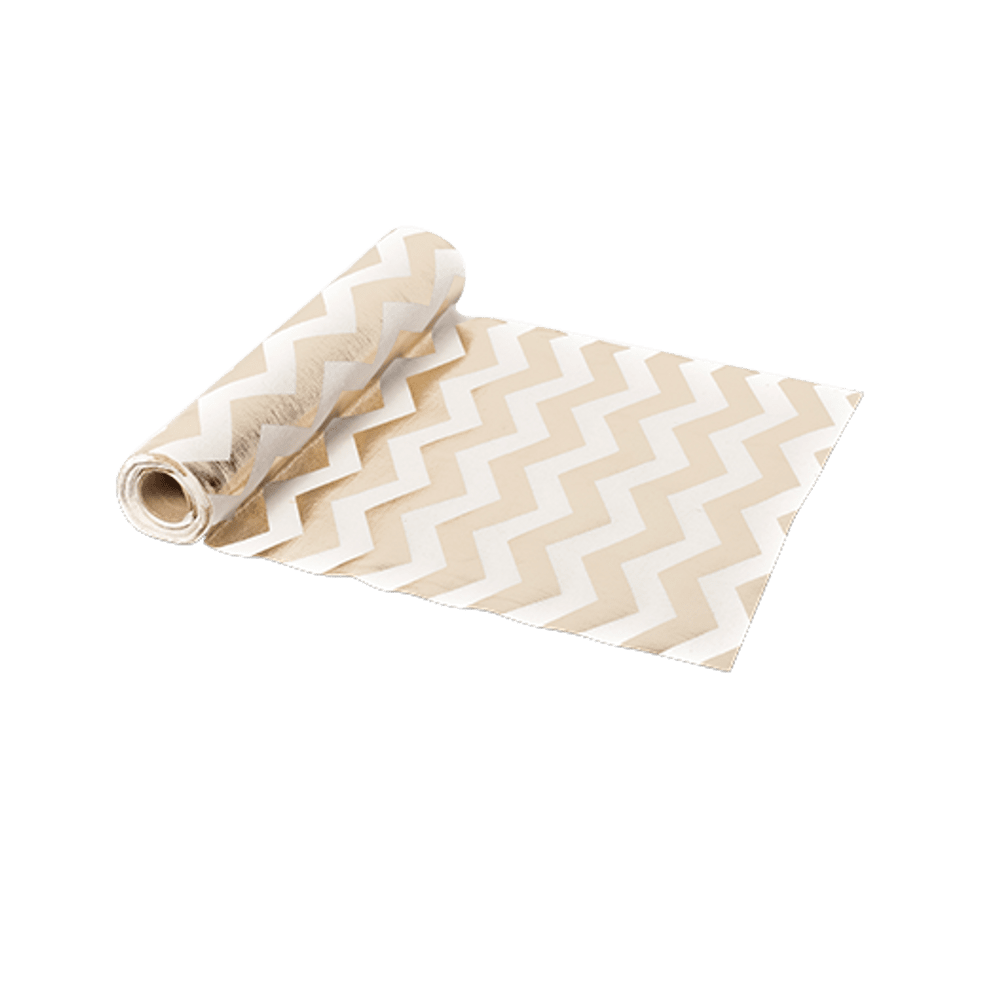 Chemin De Table Lin Chevron Rose Champagne et Or 5 m