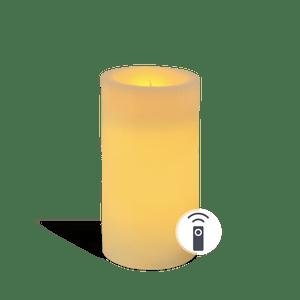 Bougie pilier LED Ivoire 7x15cm télécommandée
