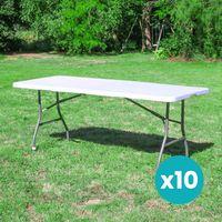 Lot de 10 Tables Pliantes 180x74 cm Blanc