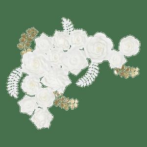 Kit Fleurs En Papier Big White x14 + Rameaux