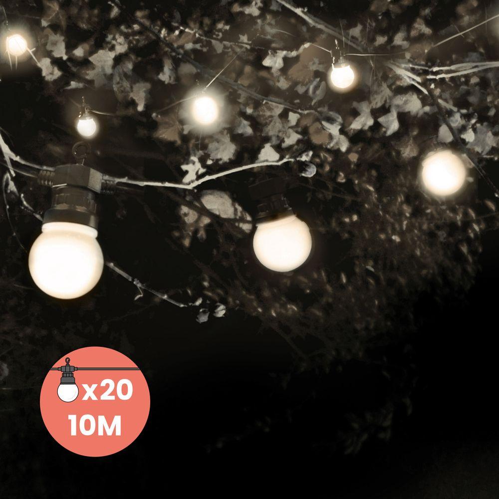 Guirlande Guinguette 10M 20 Bulbes Blanc + 3M de câble