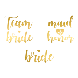 Tatouage Papier Team Bride Or x13