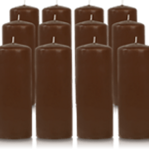 Pack de 12 bougies cylindres Cappuccino 6x15cm