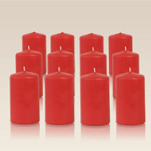 Pack de 12 bougies cylindres Rouge 6x10cm