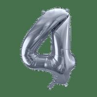 Ballon Chiffre 4 Argent 90 cm