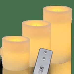Pack de 3 bougies LED finition plate avec télécommande