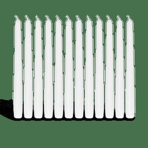 Pack de 12 chandelles Blanc 23x25cm