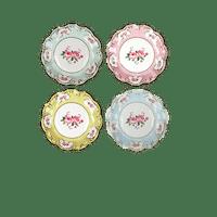 Assiette carton fleurs vintage pastel x12