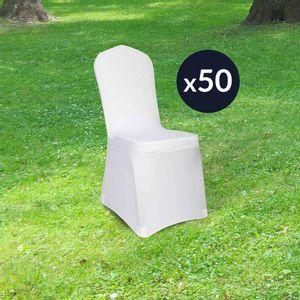 Lot de 50 Housses de Chaises Extensible 90 cm Blanc