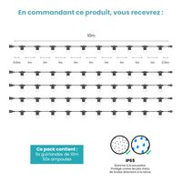 Kit Guirlande Guinguette 50m IP 65 Transparent