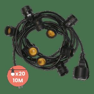 Guirlande Guinguette Noire IP65 10M 20 Douilles pour Ampoules E27