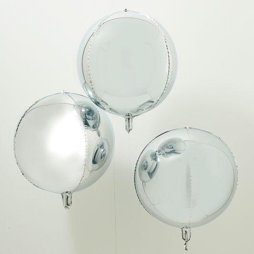 Ballon Rond Aluminium Argent 55 cm x3