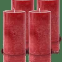 Pack de 4 Bougies Marbrées Rouge 13x7cm