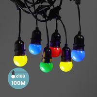 Guirlande Guinguette Pendante Ampoules Remplaçables Multicolore 100 m
